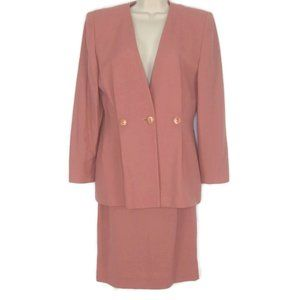 80's Christian Dior Pink Pure Wool Skirt Suit